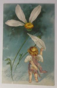 Engel, Amor, Blumen, mit schmerzen, 1903, Prägekarte  ♥  (39360)