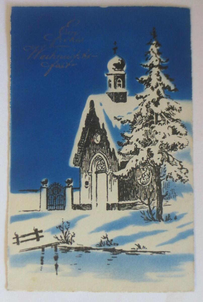 Weihnachten, Winterlandschaft, Tannenbaum, Kirche,   1927  ♥ (35768) 0
