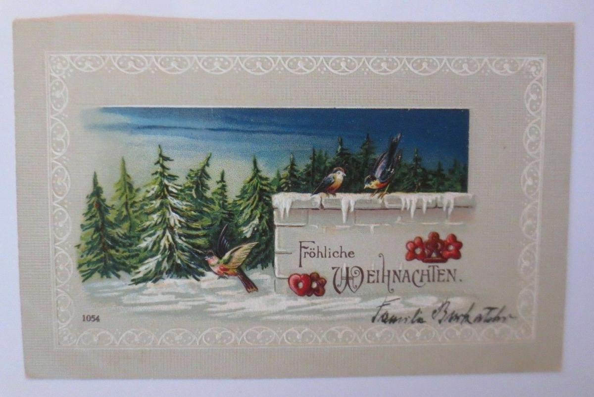 Weihnachten, Winter, Wald, Vogel, Lebkuchen, 1908, Prägekarte ♥ (67132) 0