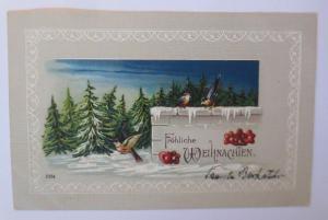 Weihnachten, Winter, Wald, Vogel, Lebkuchen, 1908, Prägekarte ♥ (67132)