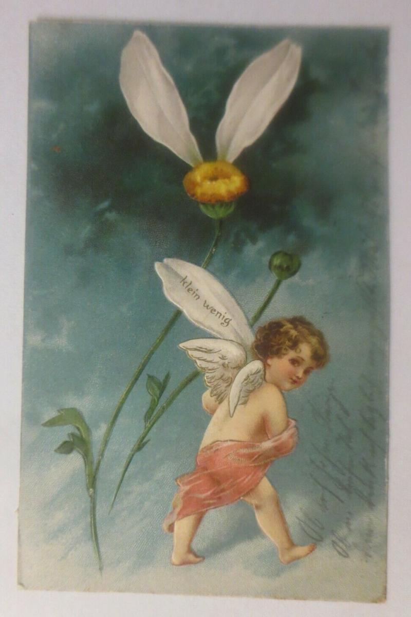 Engel, Amor, Blumen, Klein wenig, , 1903, Prägekarte  ♥  (37973) 0