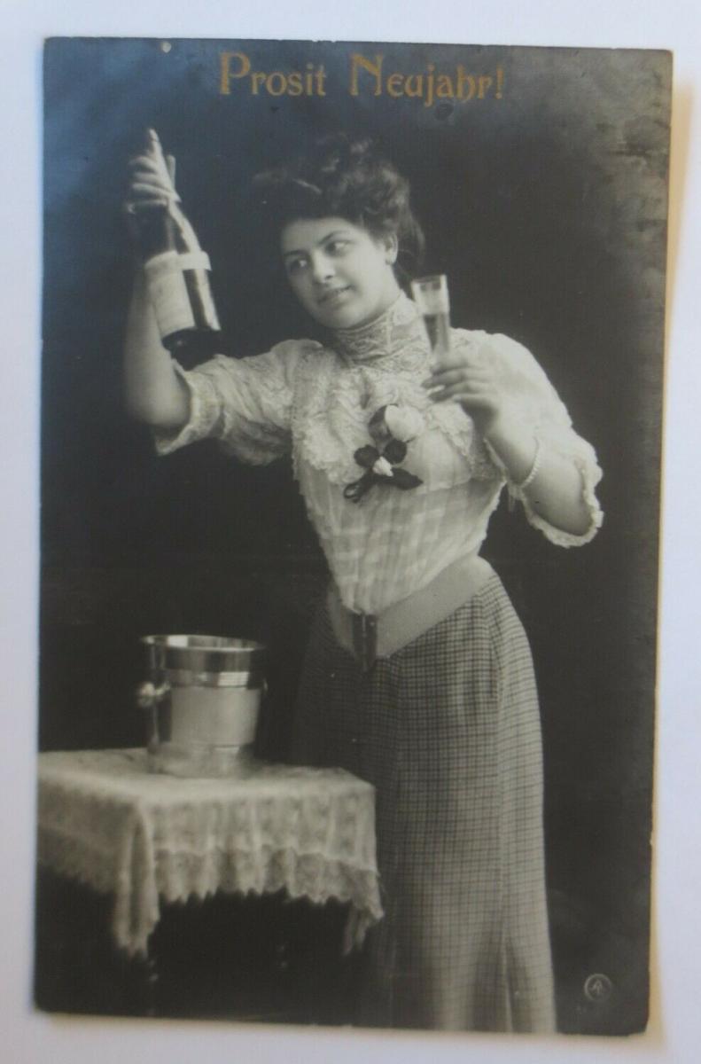 Neujahr, Frauen, Mode, Sekt, 1908 ♥  (28358) 0