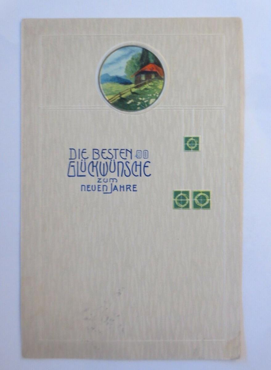 Neujahr, Jugendstil, Landschaft, Haus,  1907, Prägekarte ♥ (20032) 0