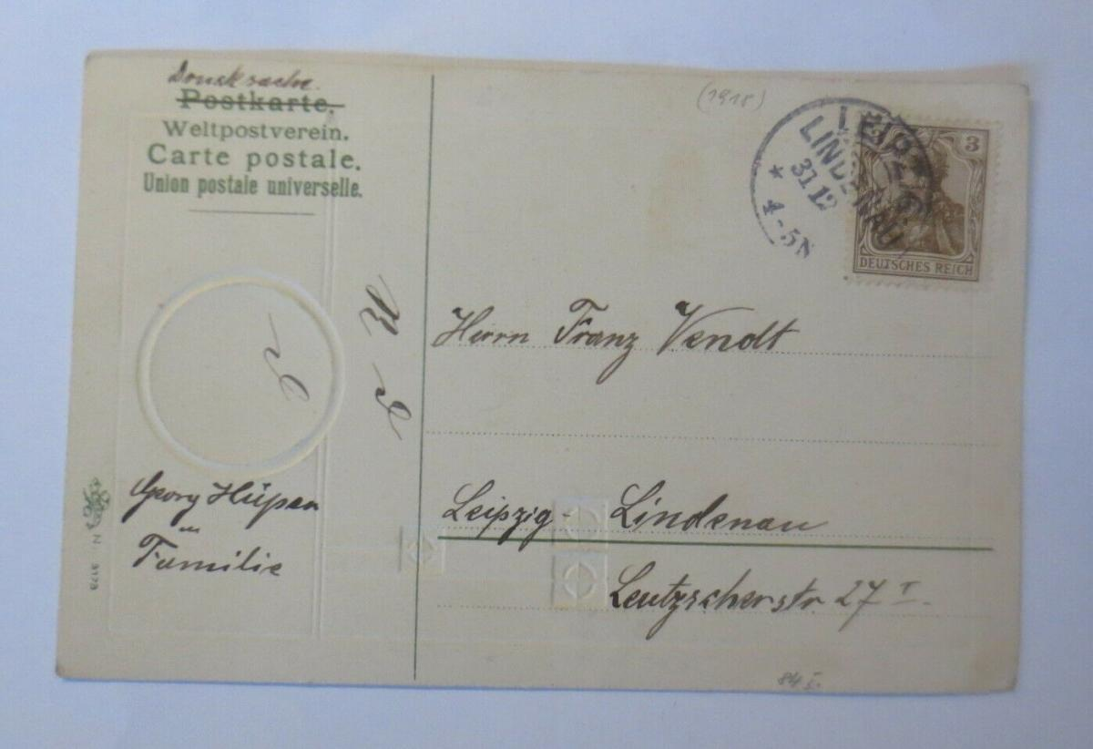 Neujahr, Jugendstil, Landschaft, Haus,  1907, Prägekarte ♥ (20032) 1
