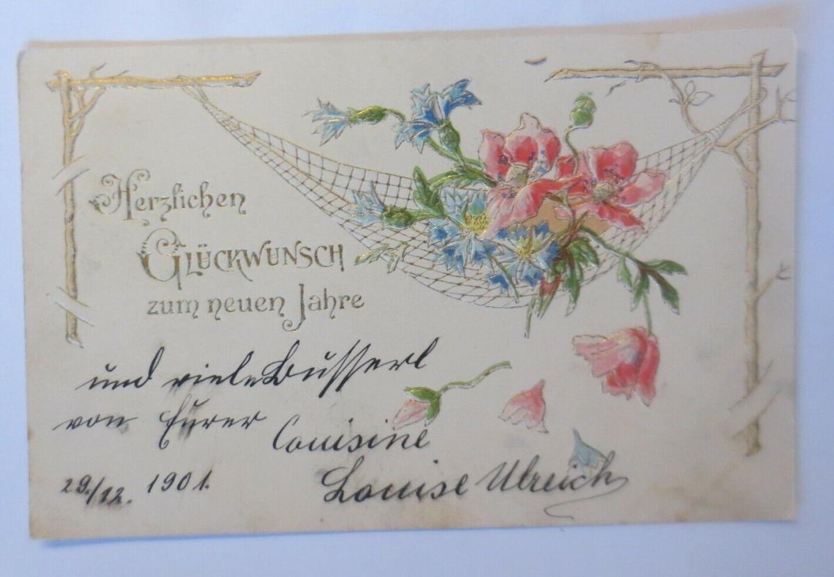 Neujahr, Blumen,  1901, Prägekarte ♥ (28853) 0