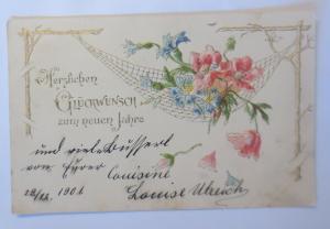 Neujahr, Blumen,  1901, Prägekarte ♥ (28853)