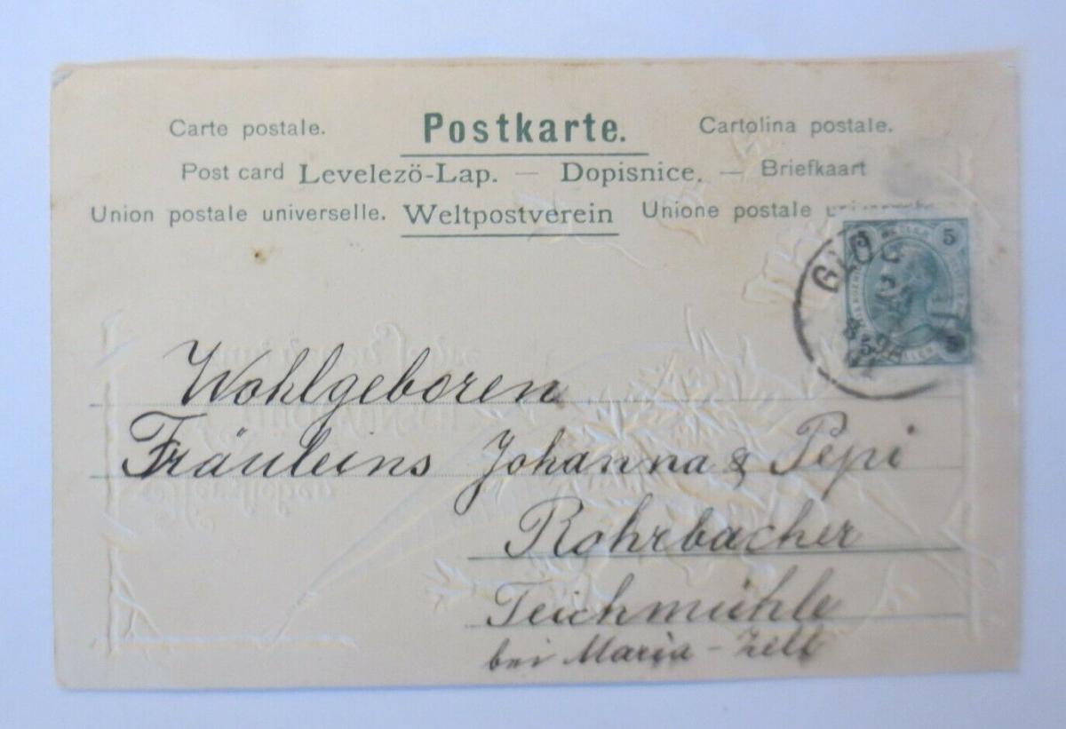 Neujahr, Blumen,  1901, Prägekarte ♥ (28853) 1