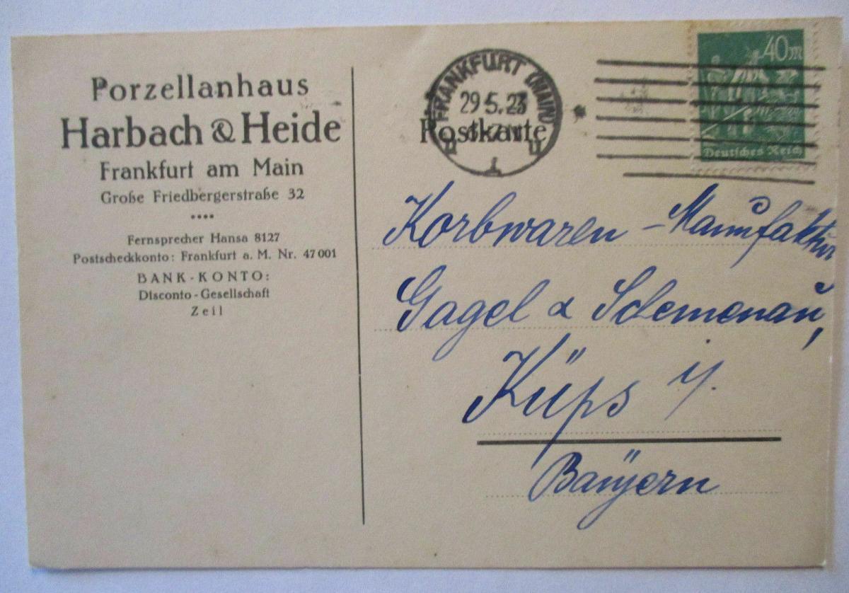 Porzellan, Werbung Reklame Harbach&Heide, Frankfurt 1923 (66683) 0