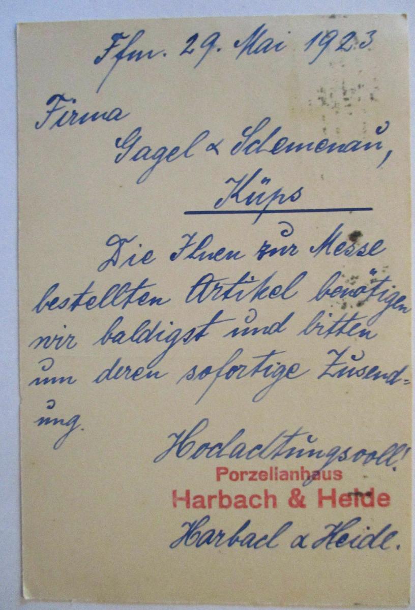 Porzellan, Werbung Reklame Harbach&Heide, Frankfurt 1923 (66683) 1