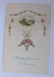 Namenstag, Rosen, Girlanden, Biedermeier  1913, Prägekarte  ♥  (64976)