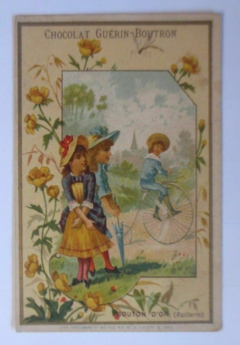 Kaufmannsbilder, Chocolat Guerin-Boutron , Kinder, Fahrrad,    1910 ♥ 0