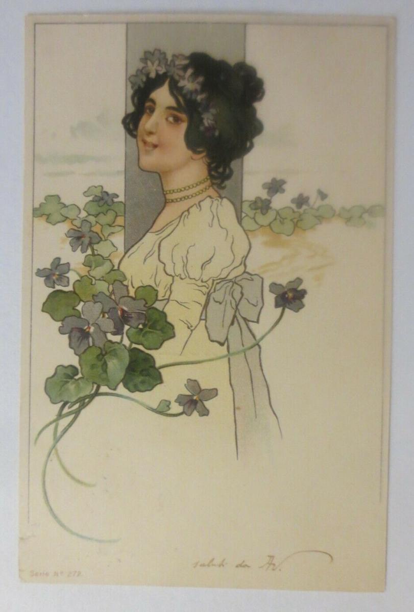 Jugendstil,  Frauen, Mode,  Blumen,  1900 ♥  (18612) 0