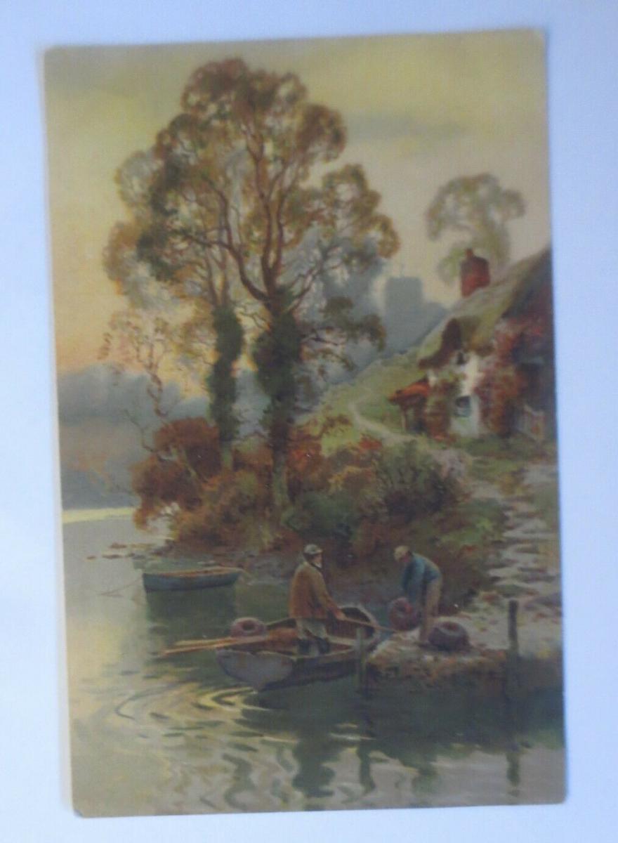 Künstlerkarte, Landschaft, Fluss, Boot, Männer, 1900, Meissner & Buch  ♥ (19408) 0