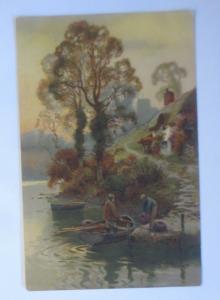 Künstlerkarte, Landschaft, Fluss, Boot, Männer, 1900, Meissner & Buch  ♥ (19408)