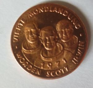 Medaille 1971 Deutschland Apollo 15 - Raumfahrt - Scott - Worden - Irwin♥(10445)