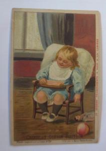 Kaufmannsbilder, Chocolat Guerin-Boutron, Kinder,  Kinderstuhl,  1910 ♥