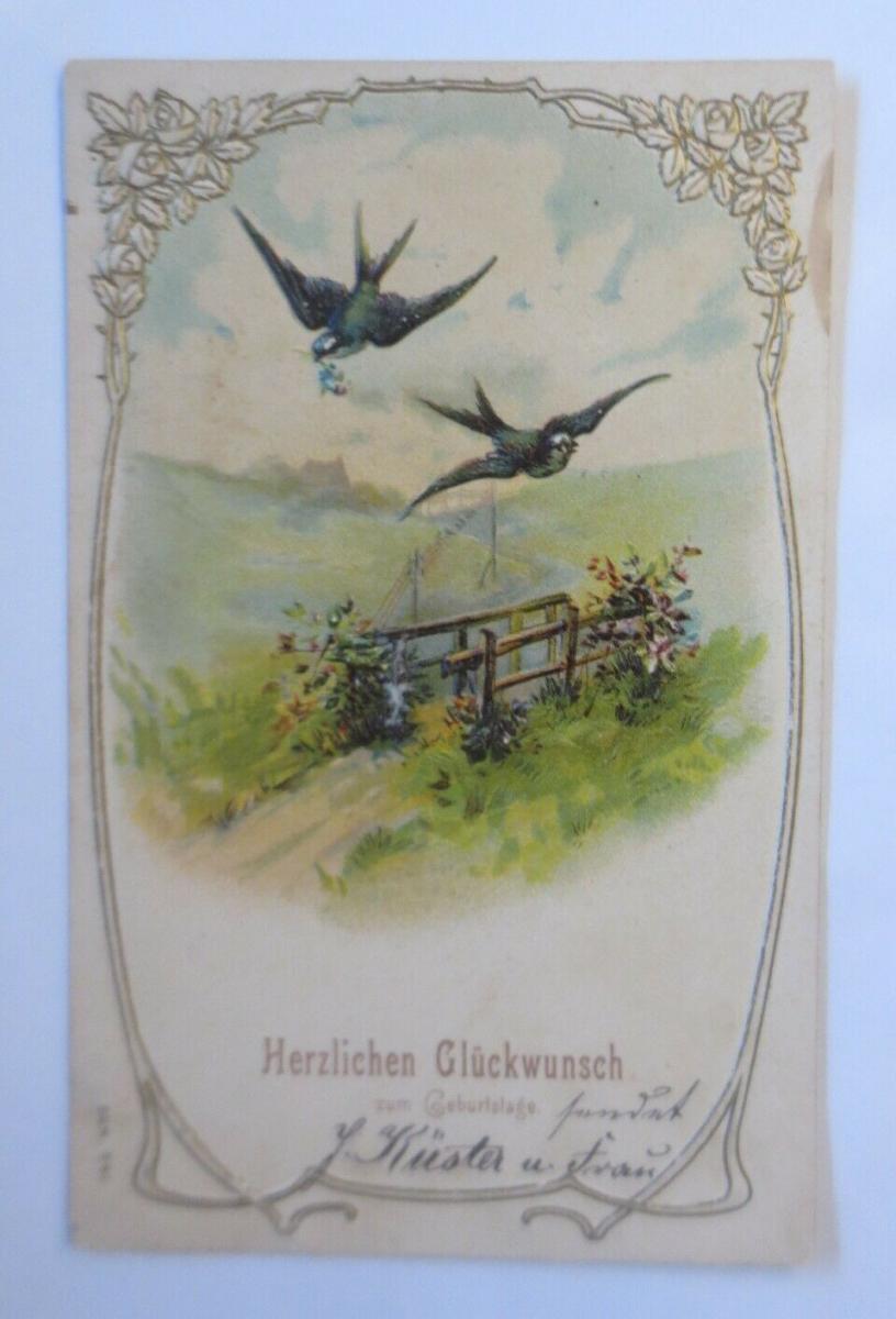 Geburtstag, Vogel, Landschaft, Jugendstil,   1907, Prägekarte ♥ (21049) 0