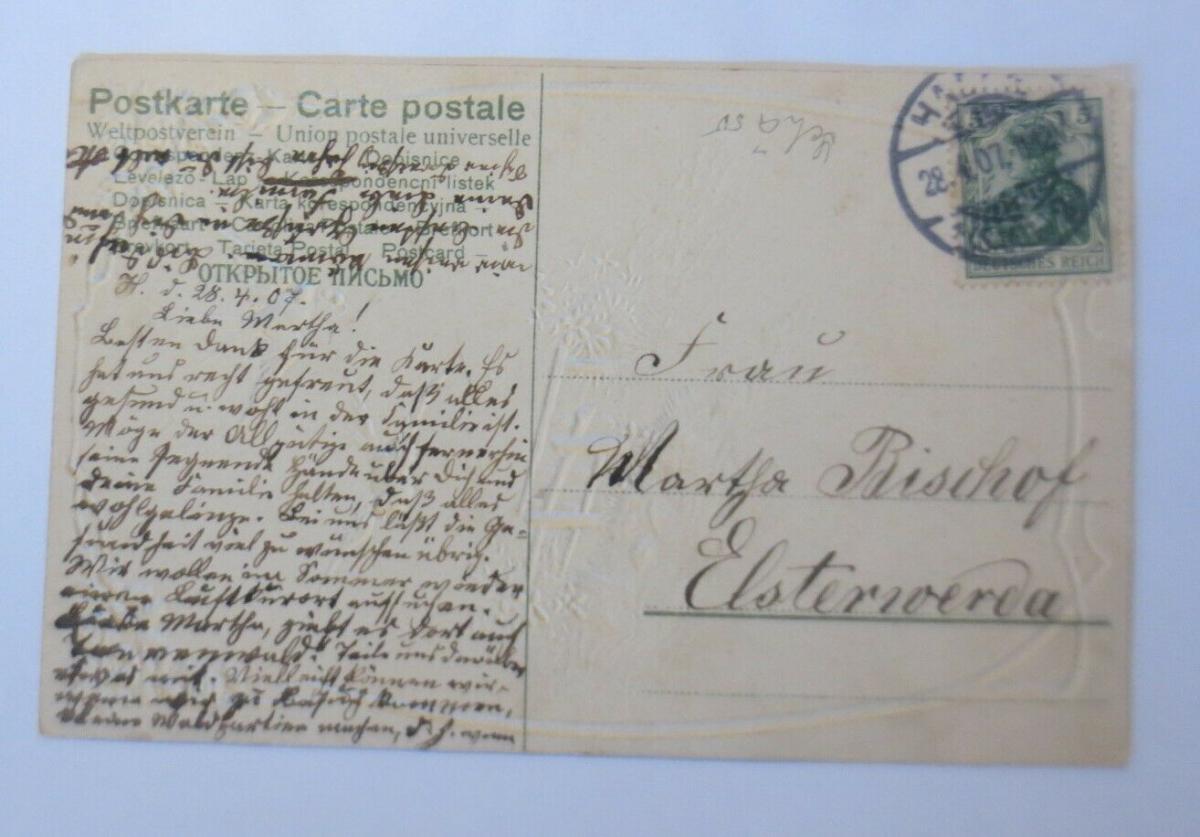 Geburtstag, Vogel, Landschaft, Jugendstil,   1907, Prägekarte ♥ (21049) 1