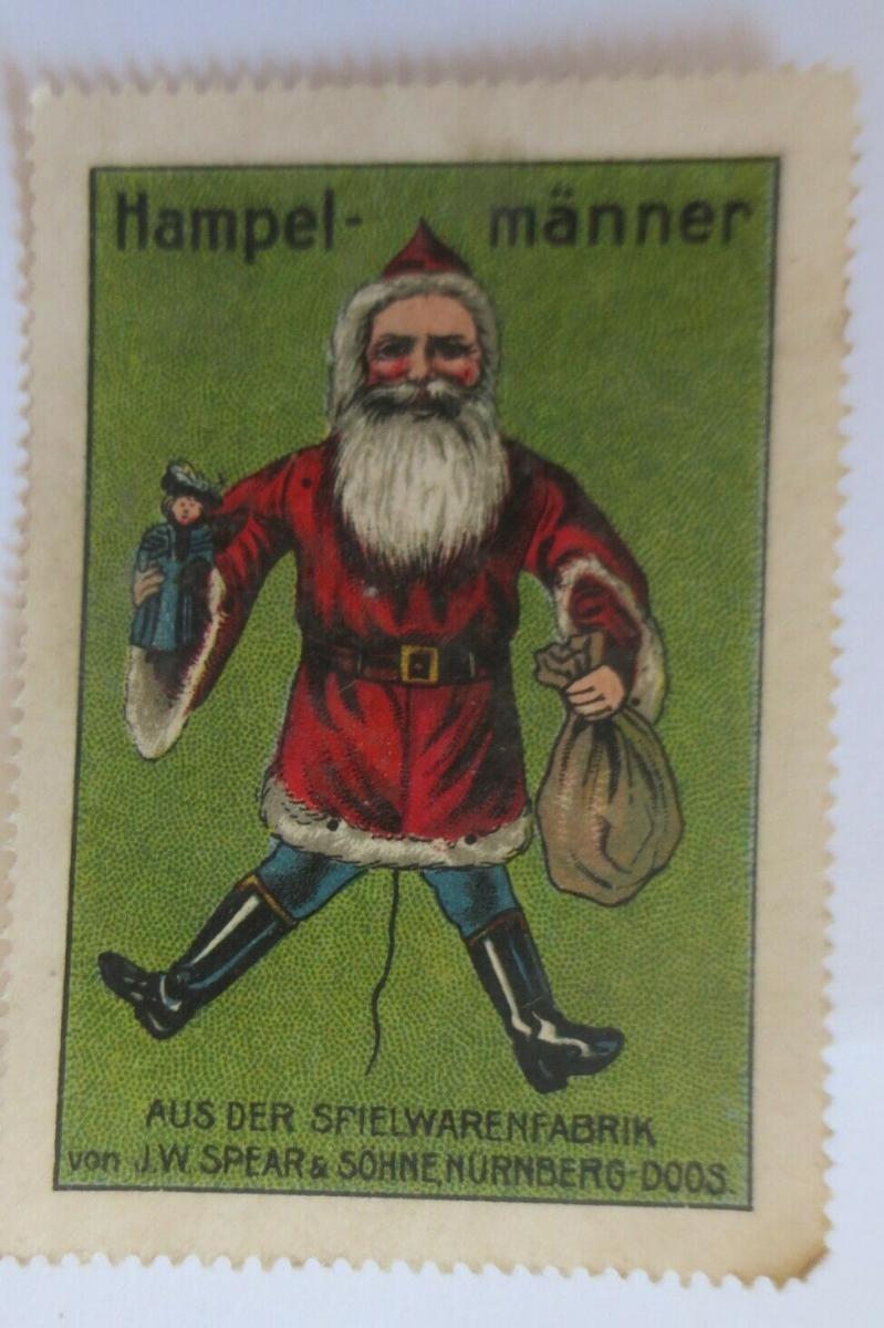 Vignetten Weihnachtsmann Hampelmänner Spielwarenfabrik Doos ♥(9282) 0