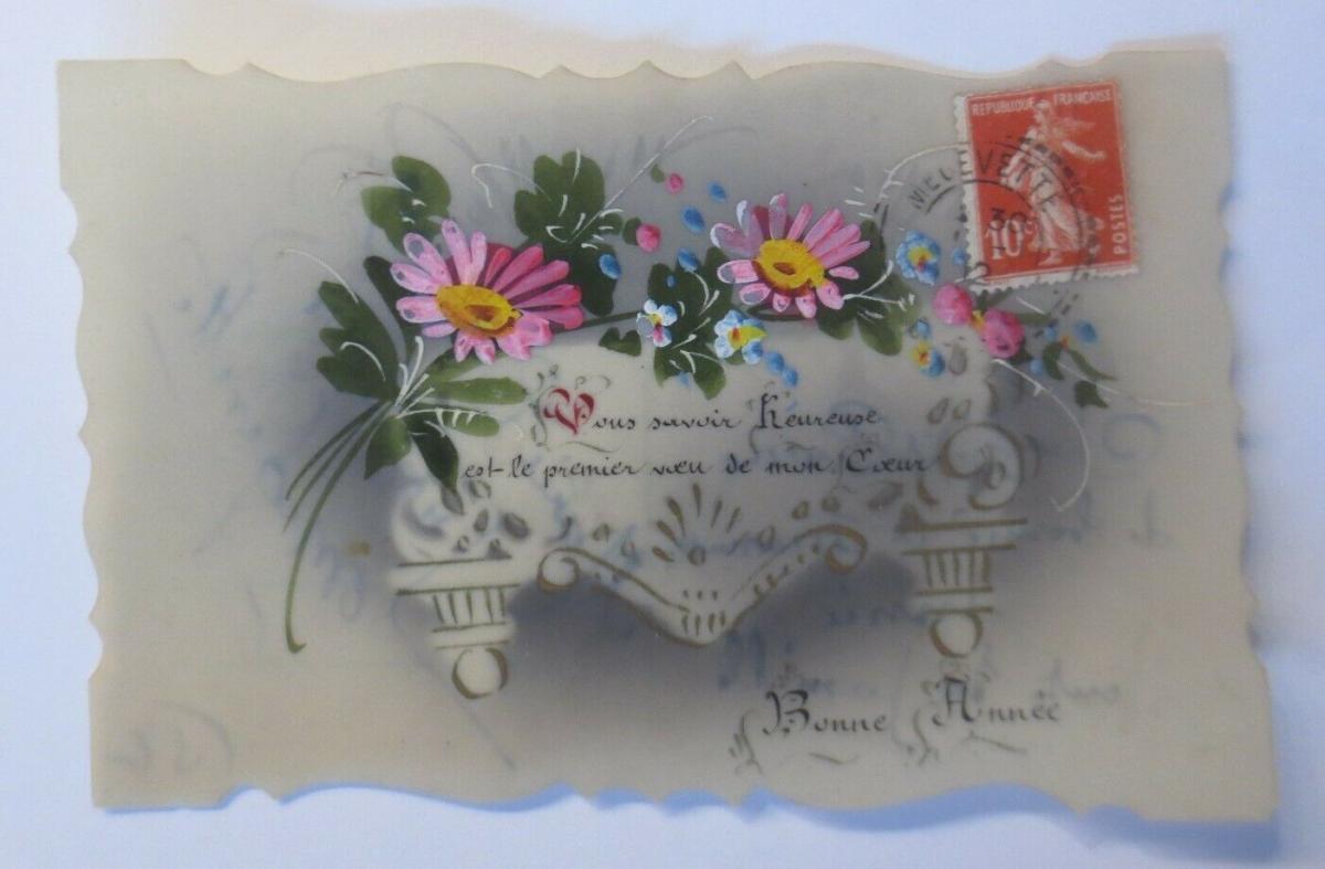 Handgemalt, Kunststoffkarte, Blumen, 1912 ♥ (25954) 0