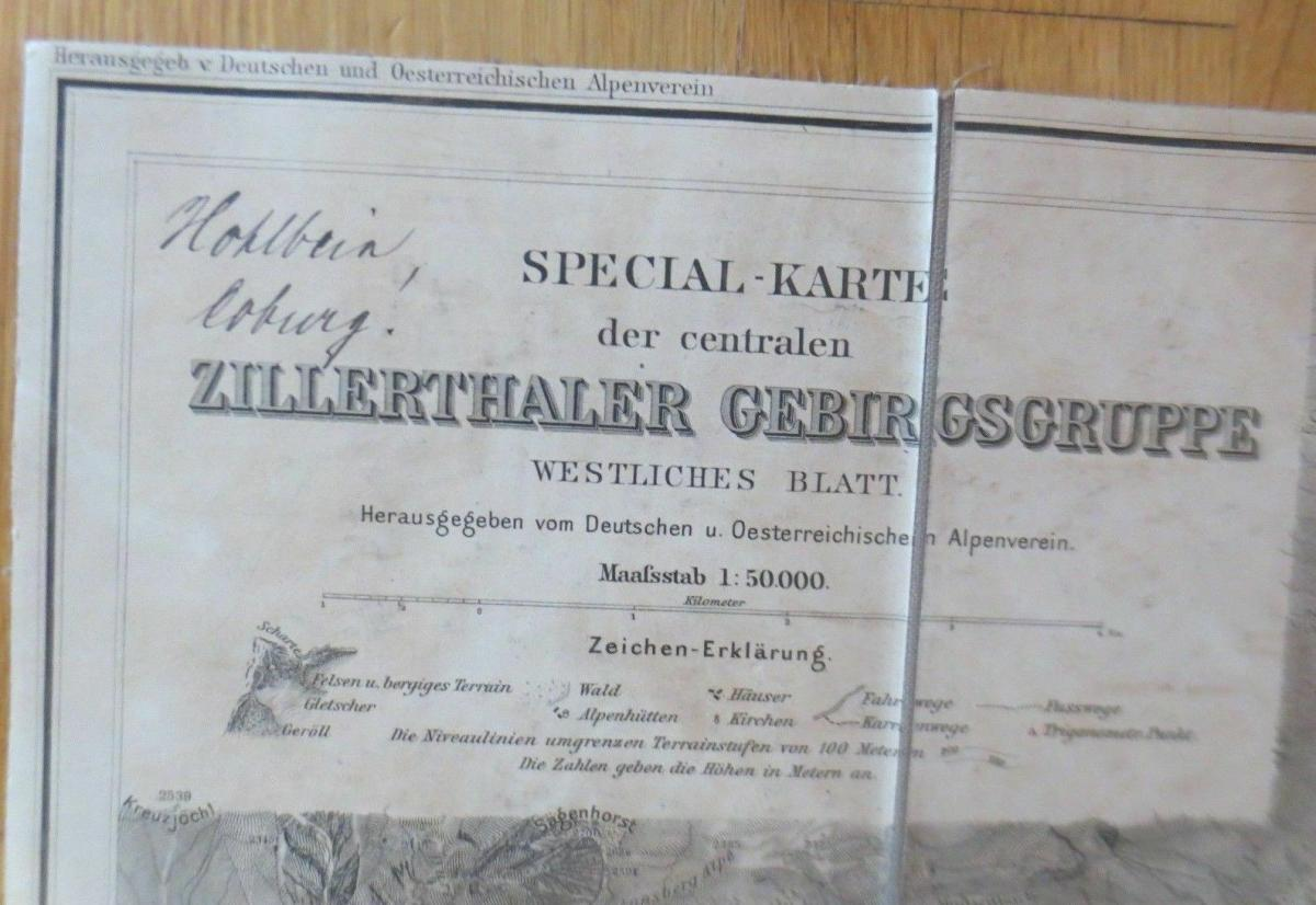 Landkarte, Spezialkarte Zillerthaler Gebirgsgruppe Jahr 1900  ♥ 1