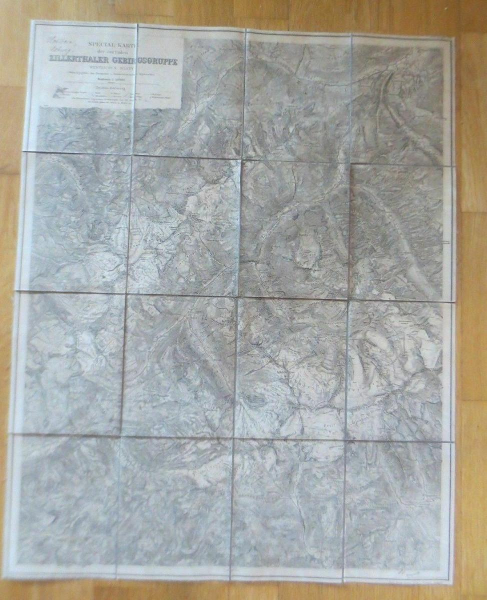 Landkarte, Spezialkarte Zillerthaler Gebirgsgruppe Jahr 1900  ♥ 2
