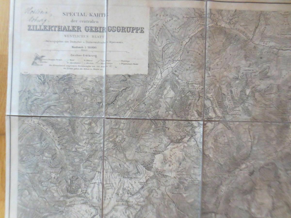 Landkarte, Spezialkarte Zillerthaler Gebirgsgruppe Jahr 1900  ♥ 3