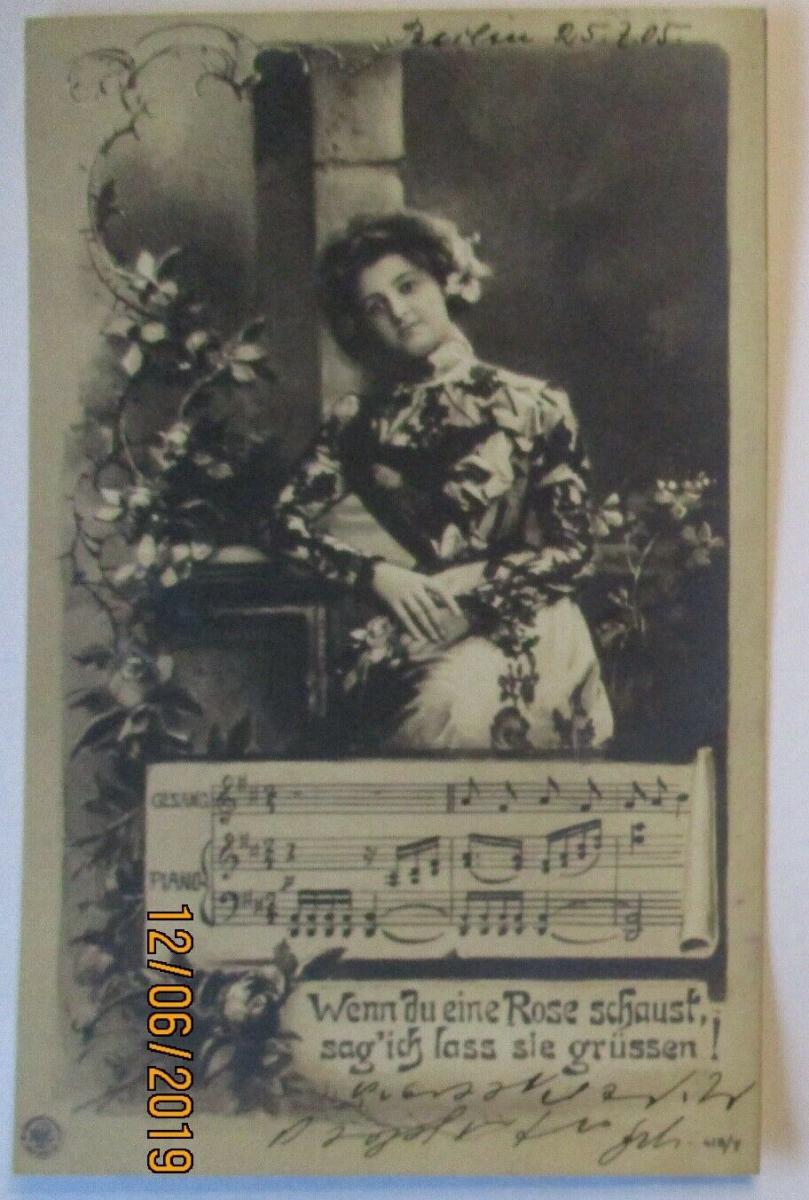 Musik Frau Blumen Rosen, Wenn du eine Rose schaust 1906 (39642) 0
