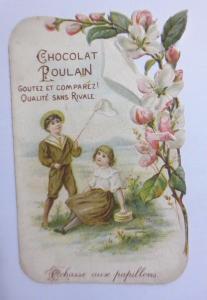 Kaufmannsbilder, Oblaten, Chocolat Poulain,  Kinder, Netz,  1845 ♥
