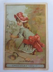 Kaufmannsbilder, Chocolat Rouit, Kinder, Blumen,   1910 ♥