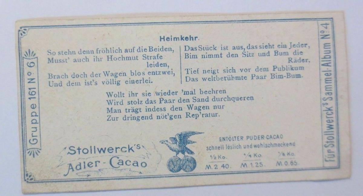 Stollwerck, Gruppe 161, Nr.6, Album ,Nr.4,  Die beiden Clowns ♥ 1