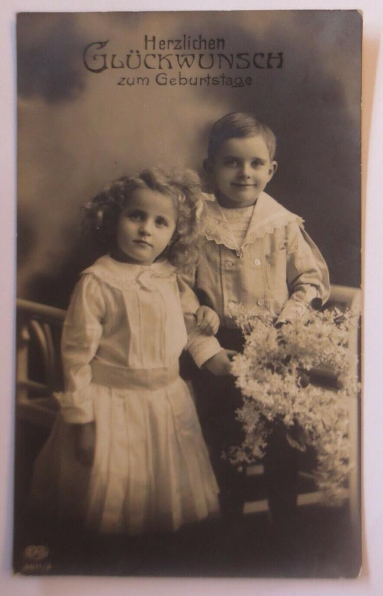 Geburtstag,  Kinder, Mode, Blumen,   1909   ♥ (29000) 0