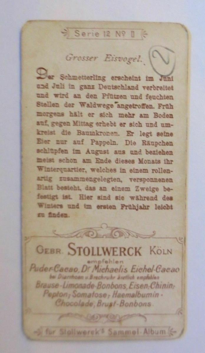 Stollwerck, Gruppe 12, Nr.11,  Großer Eisvogel, 1900 ♥ (1091) 1