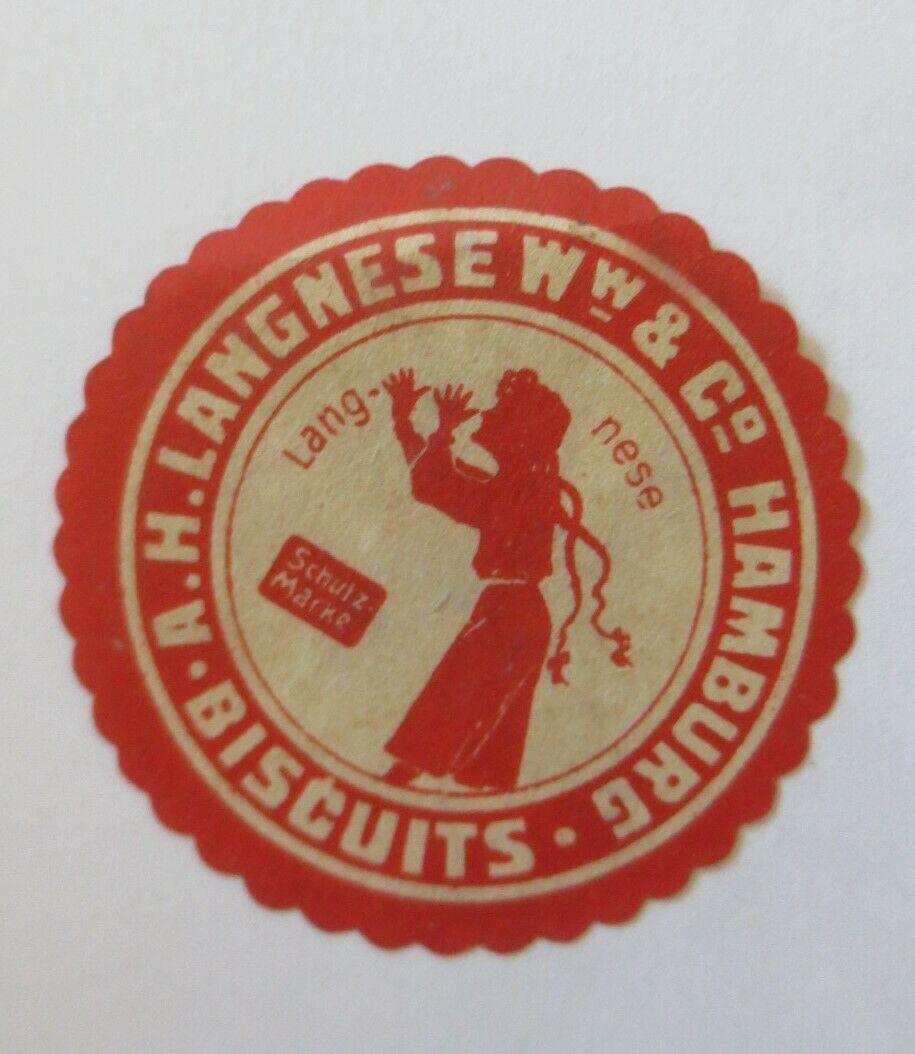 Vignetten, Siegelmarke, Verschlussmarke, Biscuits Langnese Hamburg  ♥ (42201) 0