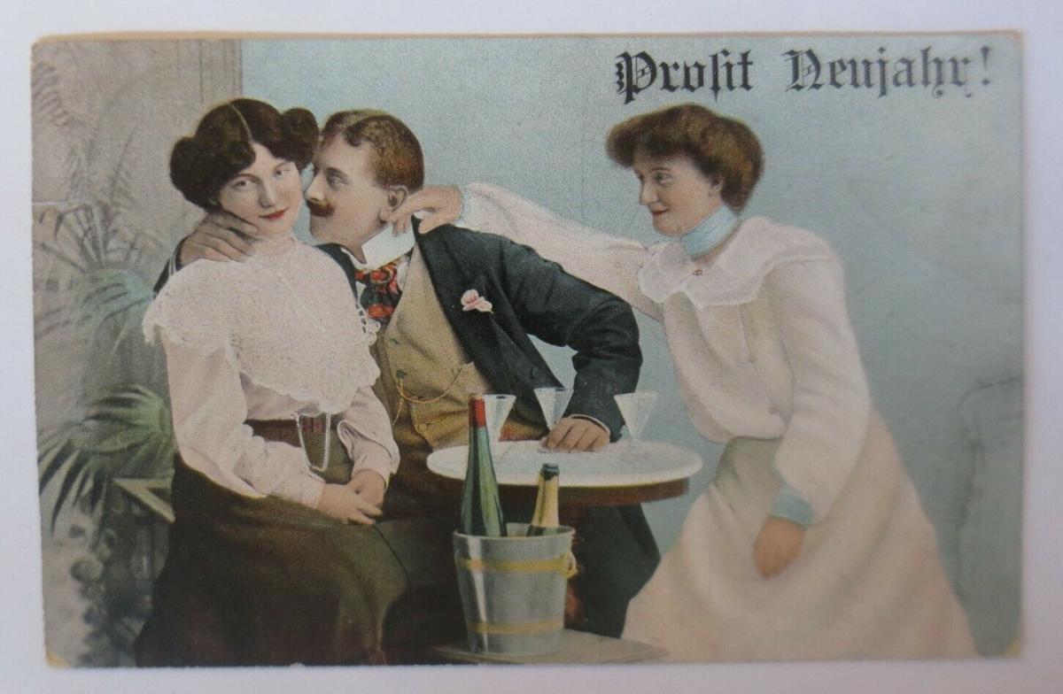 Neujahr, Frauen, Männer, Mode, Sekt,    1906   ♥ (28483) 0