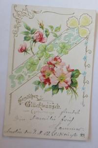 Geburtstag,Blumen, Rosen, Kleeblatt,  1902, Prägekarte ♥ (28738)