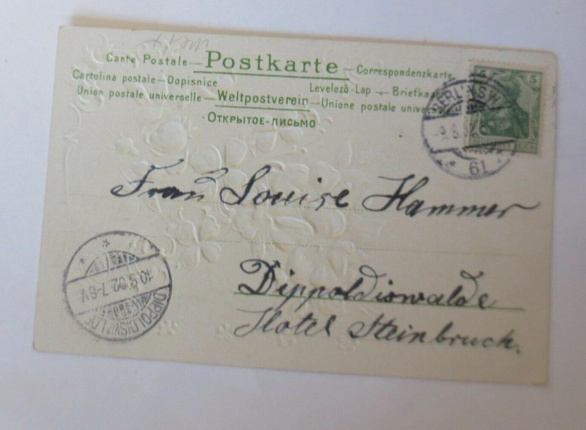 Geburtstag,Blumen, Rosen, Kleeblatt,  1902, Prägekarte ♥ (28738) 1