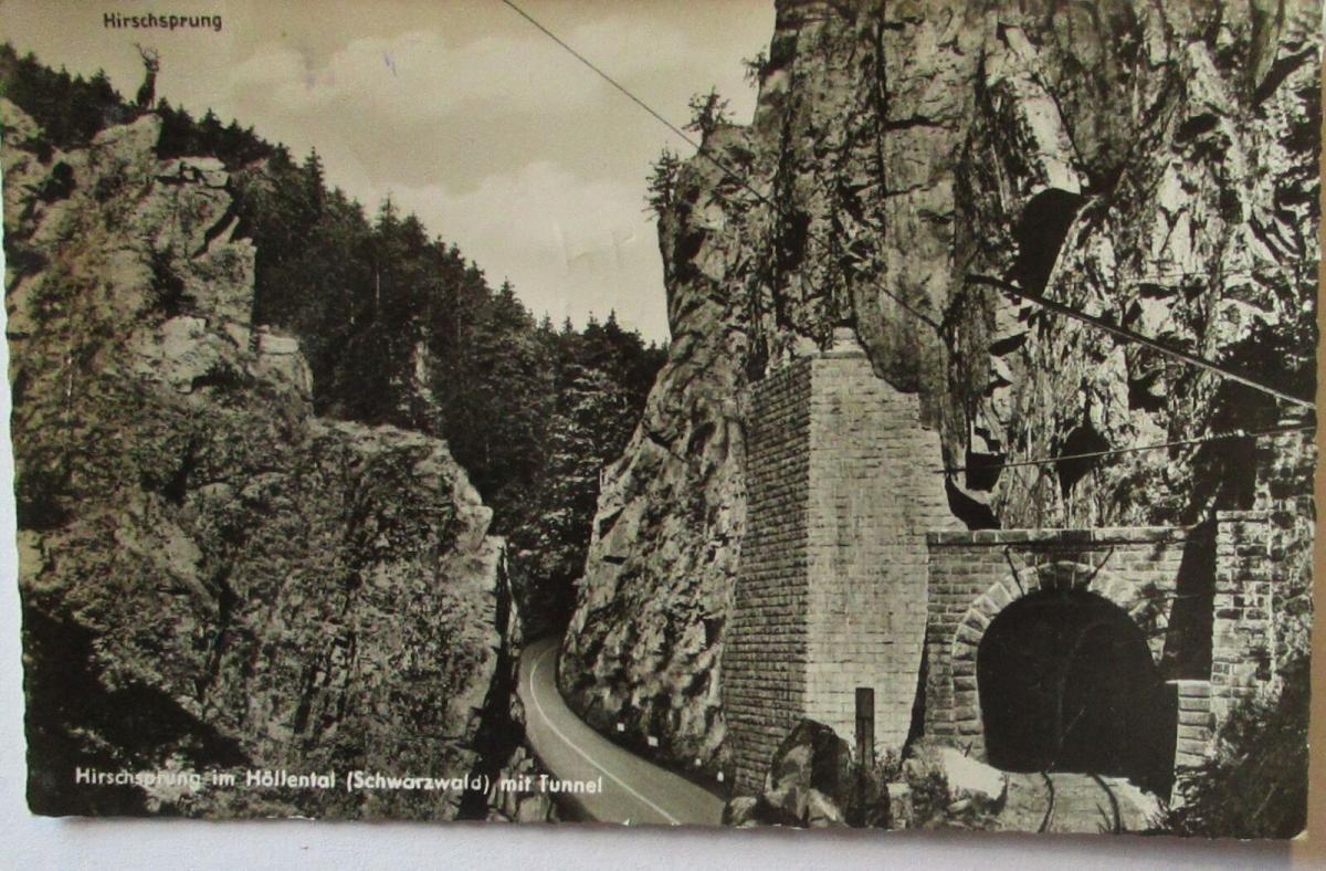 Hirschsprung im Höllental Schwarzwald mit Tunnel, 50er Jahre (23948) 0