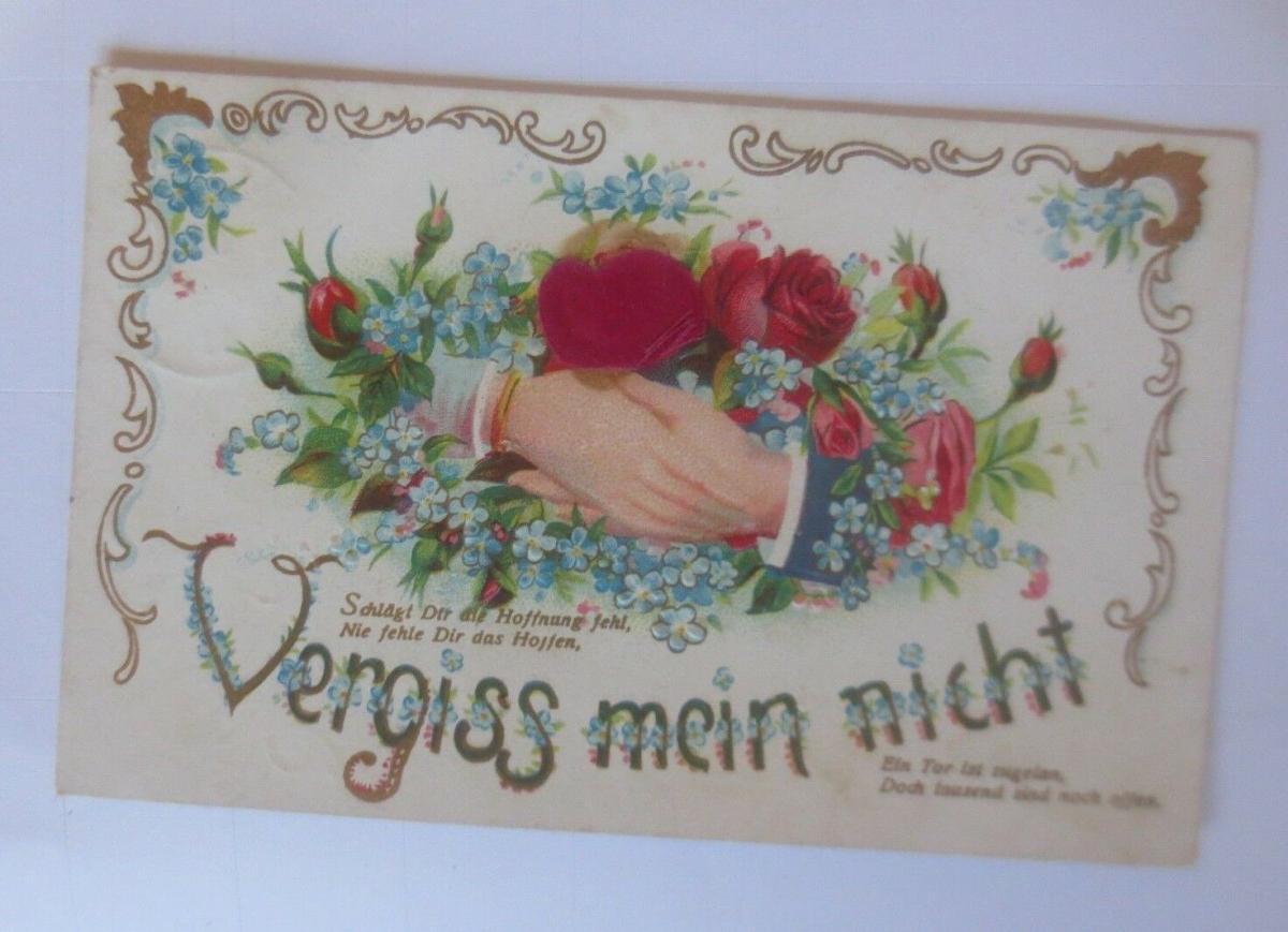 Vergiss mein nicht, Gratulieren, Blumen, 1913, Prägekarte ♥ (80059) 0