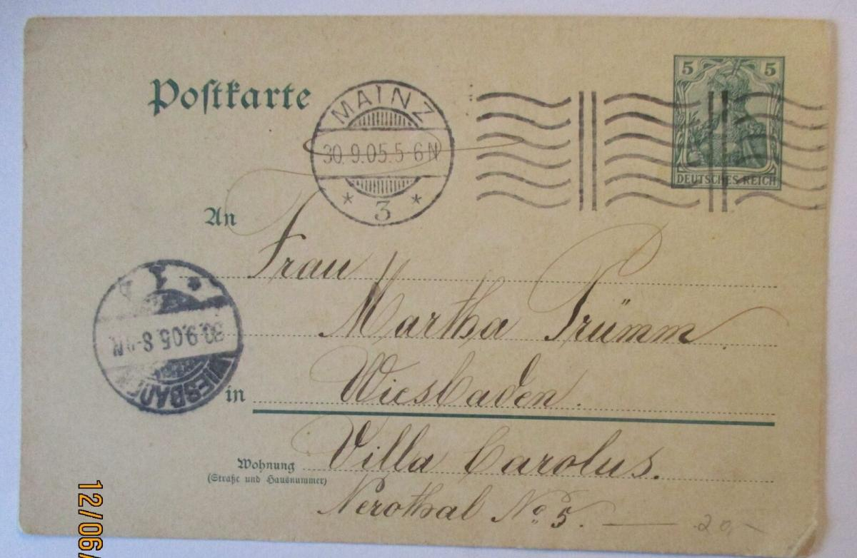 D.Reich handgemalte Ganzsache Ortskarte Mainz 1905 (39354) 1