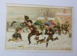 Kaufmannsbilder, Winter, Kinder, Spielen,   1910 ♥