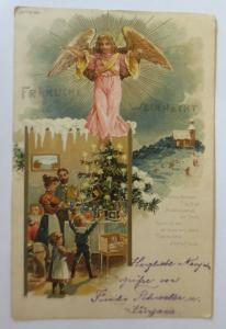 Weihnachten, Engel, Kinder, Bescherung, Puppenstube, 1899, Litho ♥ (71271)
