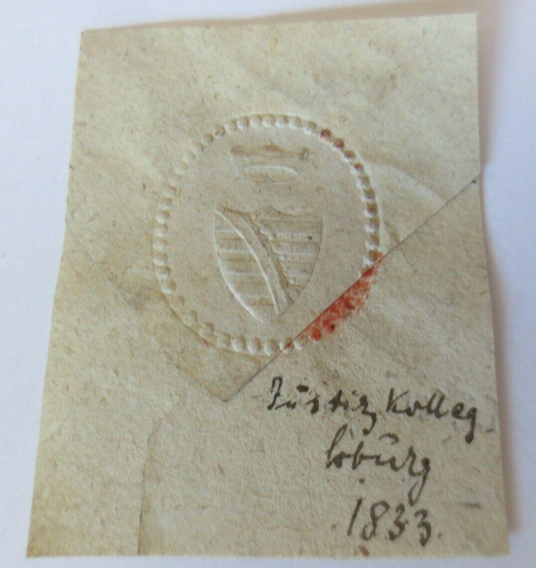 Siegelmarken, Justizamt Kolleg Coburg  1833 ♥ (213) 0