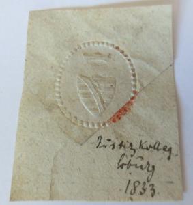 Siegelmarken, Justizamt Kolleg Coburg  1833 ♥ (213)