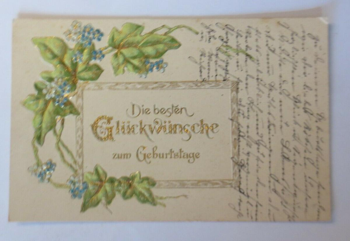 Geburtstag, Blumen, Efeu,  1909, Prägekarte ♥ (28732) 0