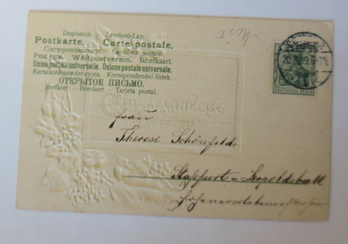 Geburtstag, Blumen, Efeu,  1909, Prägekarte ♥ (28732) 1