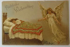 Weihnachten, Engel, Kinder, Mode, Bett,  1901, Prägekarte  ♥ (69424)