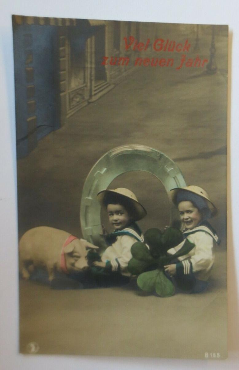 Neujahr, Kinder, Mode, Hufeisen, Schwein,  1909   ♥ (24113) 0