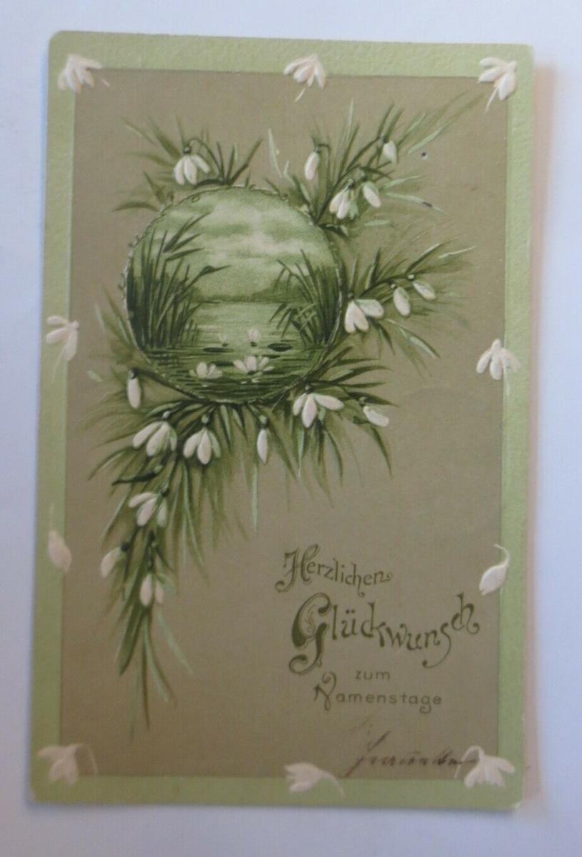 Namenstag, Blumen, Schneeglöckchen,  1909, Prägekarte ♥ (28721) 0