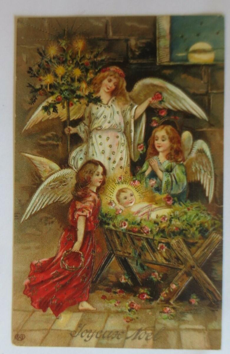 Weihnachten, Engel, Krippe, Jesus, 1907,  Prägekarte ♥ (68023) 0